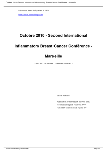 Octobre 2010 - Second International Inflammatory Breast Cancer Conférence - Marseille