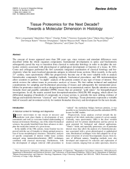 Tissue Proteomics for the Next Decade? Review Article