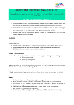 ASSISTANT BUSINESS ANALYSE (H / F) pour vous