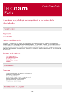 CentreCnamParis Apports de la psychologie sociocognitive à la prévention de la discrimination PRÉSENTATION