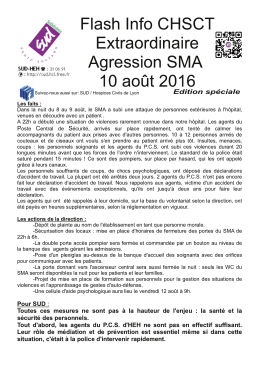 Flash Info CHSCT Extraordinaire Agression SMA 1 0 août 201 6