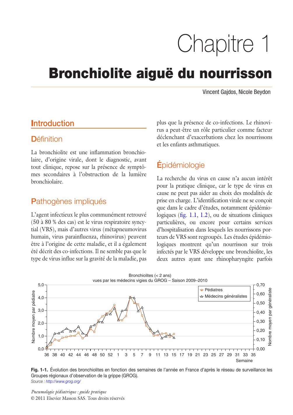 Chapitre 1 Bronchiolite aiguë du nourrisson I