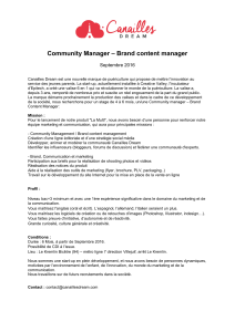 Community Manager – Brand content manager  Septembre 2016