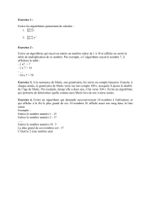 TD3 : tests Syntaxe python : Exercice 1: On donne l`algorithme