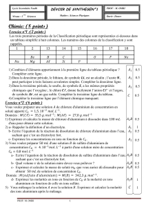 Chimie: (8 points)  Exercice n°1 :(2 points)