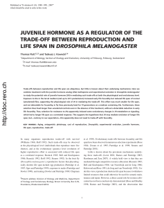 JUVENILE HORMONE AS A REGULATOR OF THE TRADE-OFF BETWEEN REPRODUCTION AND