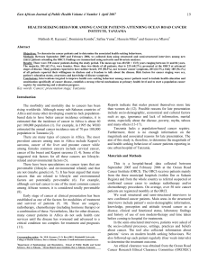 19 East African Journal of Public Health Volume 4 Number 1...  Methods R. Kazaura