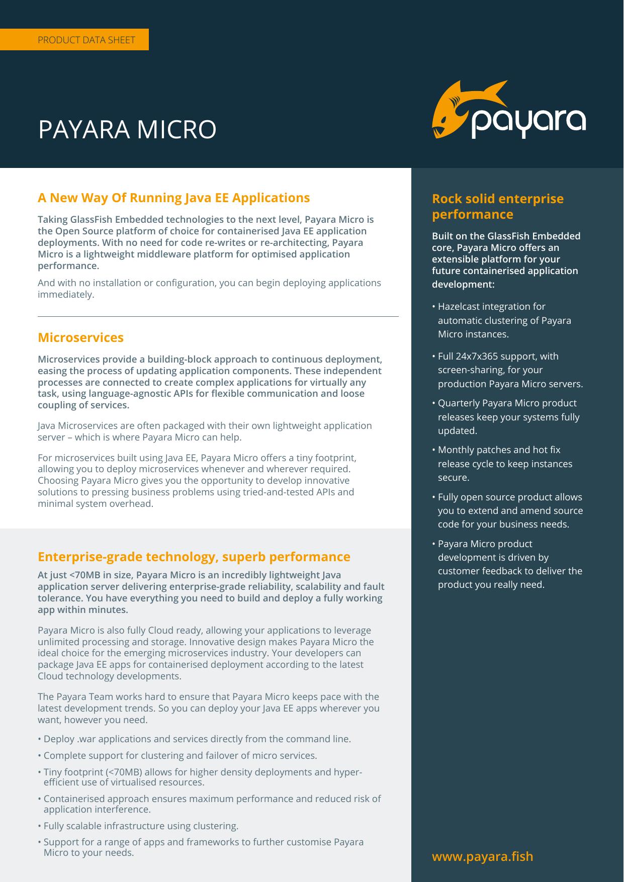 PAYARA MICRO A New Way Of Running Java EE Applications performance