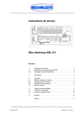 Instructions de service Bloc électrique EBL 271