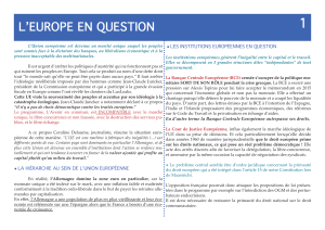 1 L'EUROPE EN QUESTION LES INSTITUTIONS EUROPÉENNES EN QUESTION