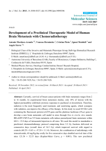 Molecular Sciences Development of a Preclinical Therapeutic Model of Human