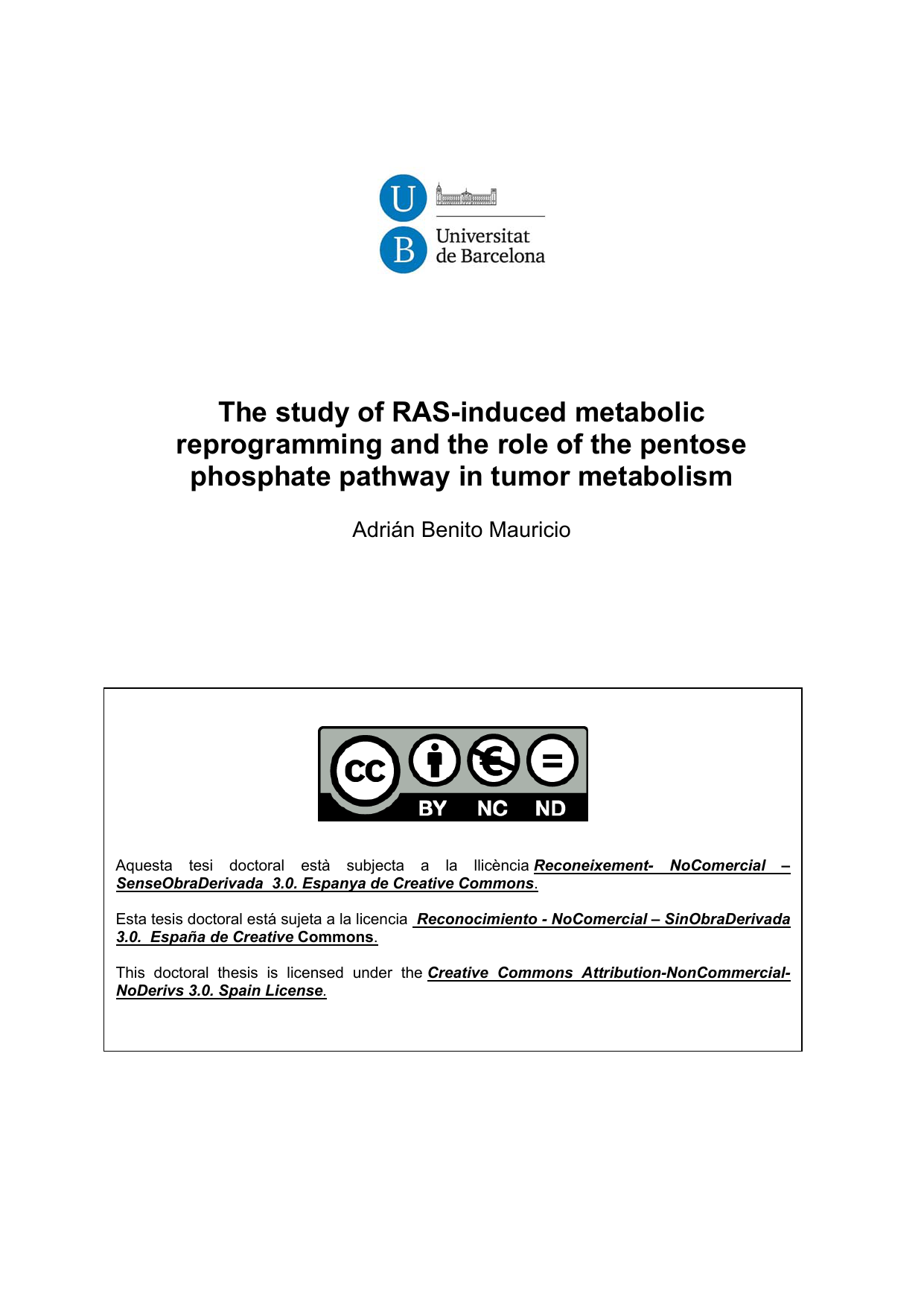 The study of RAS-induced metabolic phosphate pathway in tumor metabolism