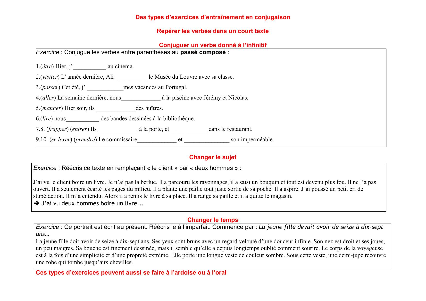 Des Types D Exercices D Entrainement En Conjugaison