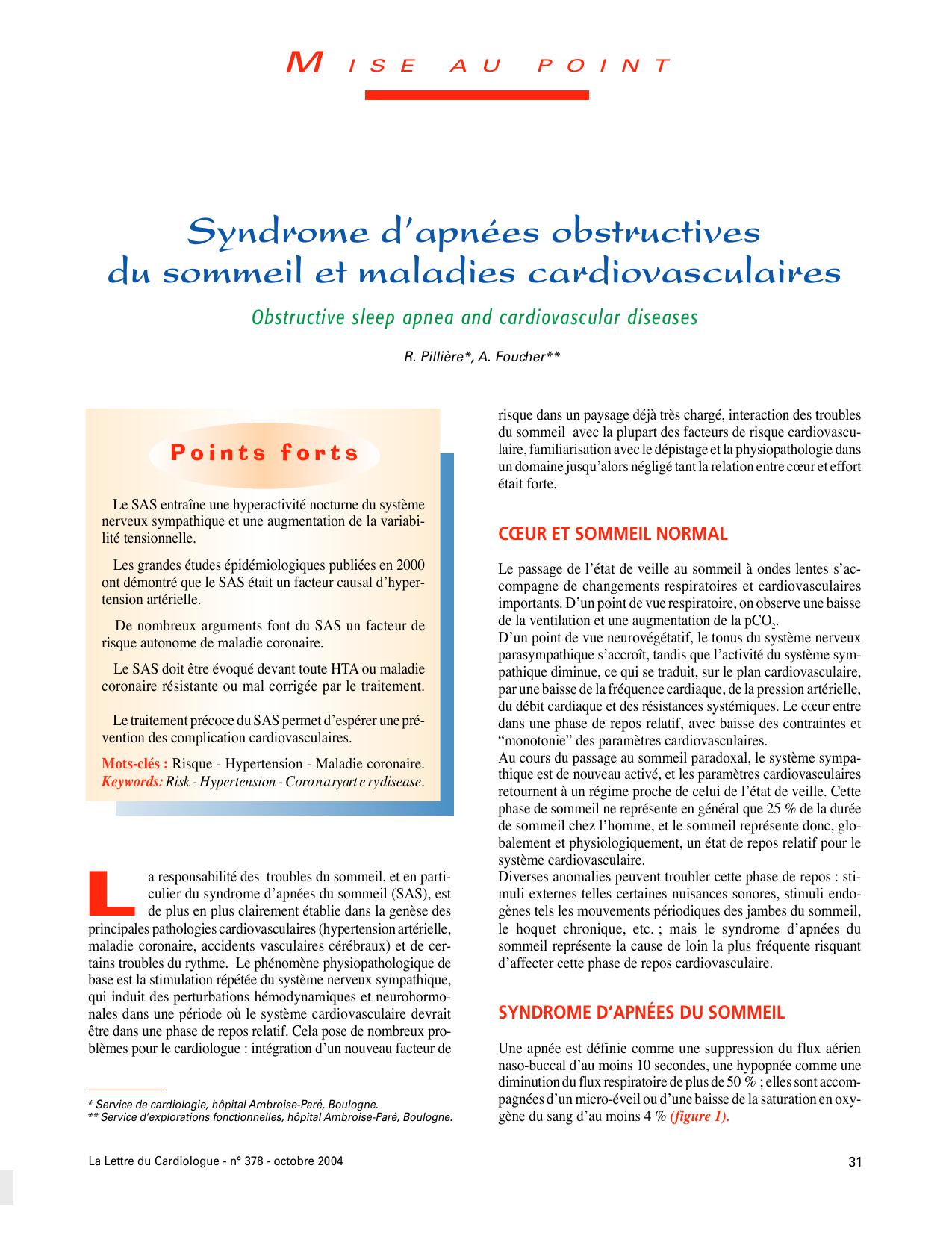 Syndrome d'apnées obstructives du sommeil et maladies ...