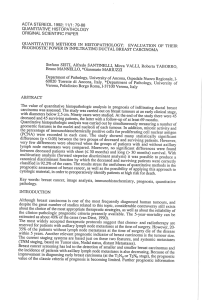 ACTA STEREOL 1992; 11/1: 79-88 QUANTITATIVE HISTOPATHOLOGY ORIGINAL SCIENTIFIC PAPER