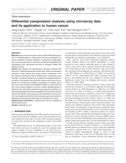 BIOINFORMATICS ORIGINAL PAPER Differential coexpression analysis using microarray data