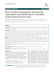 Phase II study of preoperative bevacizumab, capecitabine and radiotherapy for resectable