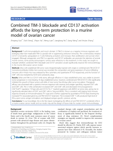 Combined TIM-3 blockade and CD137 activation model of ovarian cancer
