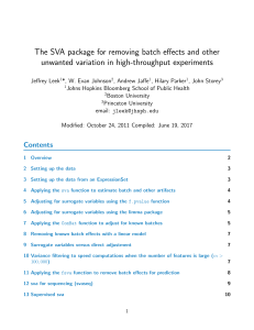 The SVA package for removing batch effects and other