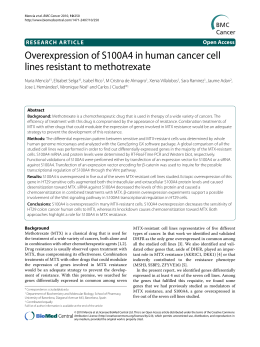 Overexpression of S100A4 in human cancer cell lines resistant to methotrexate