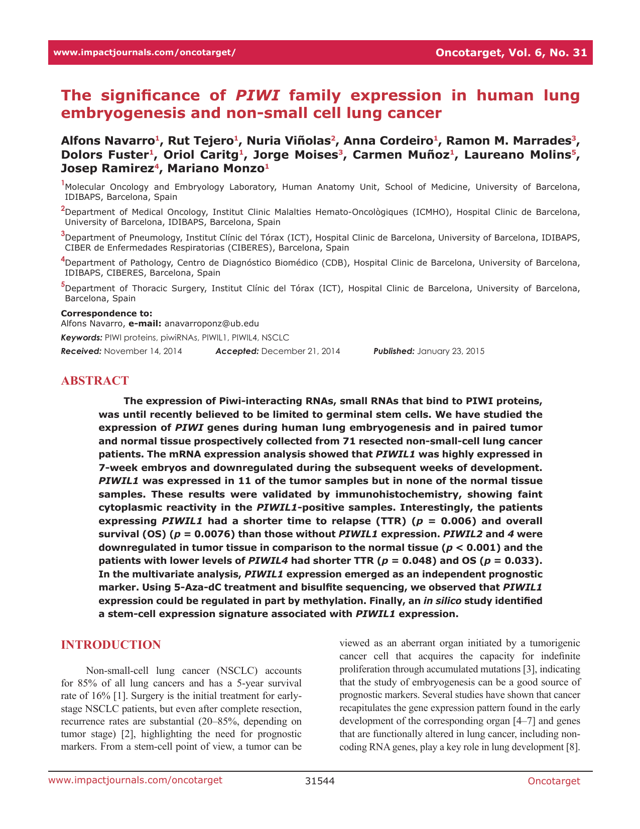 PIWI embryogenesis and non-small cell lung cancer