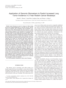 Application of Genomic Biomarkers to Predict Increased Lung