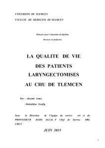 LA  QUALITE   DE  VIE DES  PATIENTS LARYNGECTOMISES