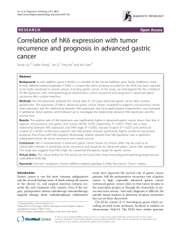 Correlation of hK6 expression with tumor cancer
