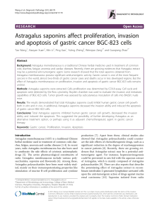 Astragalus saponins affect proliferation, invasion Open Access