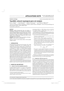 BIOINFORMATICS APPLICATIONS NOTE TopoGSA: network topological gene set analysis Enrico Glaab