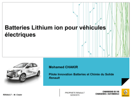 Batteries Lithium ion pour véhicules  Mohamed CHAKIR