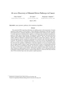 De novo Discovery of Mutated Driver Pathways in Cancer Fabio Vandin