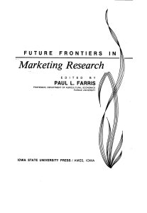 Marketing Research FUTURE FRONTIERS IN
