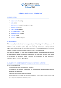 "Syllabus of the course ""Marketing"" I.  IDENTIFICATION"