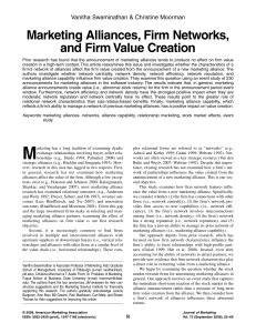 Marketing Alliances, Firm Networks, and Firm Value Creation