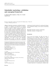 Stakeholder marketing: a definition and conceptual framework G. Tomas M. Hult