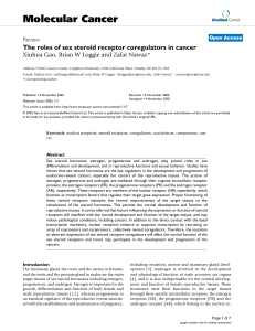 Molecular Cancer The roles of sex steroid receptor coregulators in cancer Review