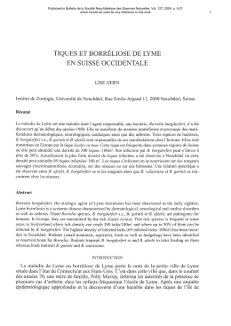 LYME OCCIDENTALE BORRELIOSE TIQUES