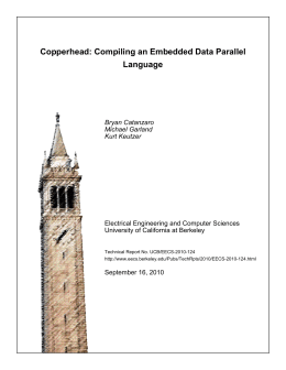 Copperhead: Compiling an Embedded Data Parallel Language Bryan Catanzaro Michael Garland