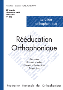 Reeducation orthophonique