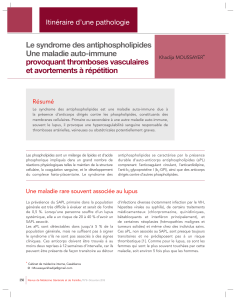 Syndrome des antiphospholipides au Maroc