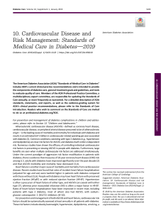 Cardiovascular Disease and Risk Management - 2019