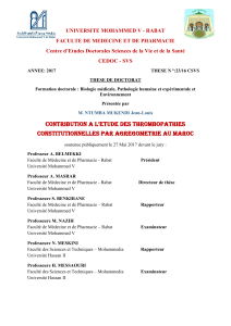 THESE DE DOCTORAT CONTRIBUTION A L'ETUDE DES THROMBOPATHIES CONSTITUTIONNELLES PAR AGREGOMETRIE AU MAROC