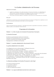 La Gestion Administrative du Personnel plan