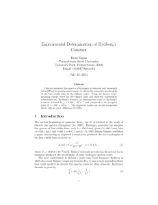Experimental Determination of Rydbergs C (1)