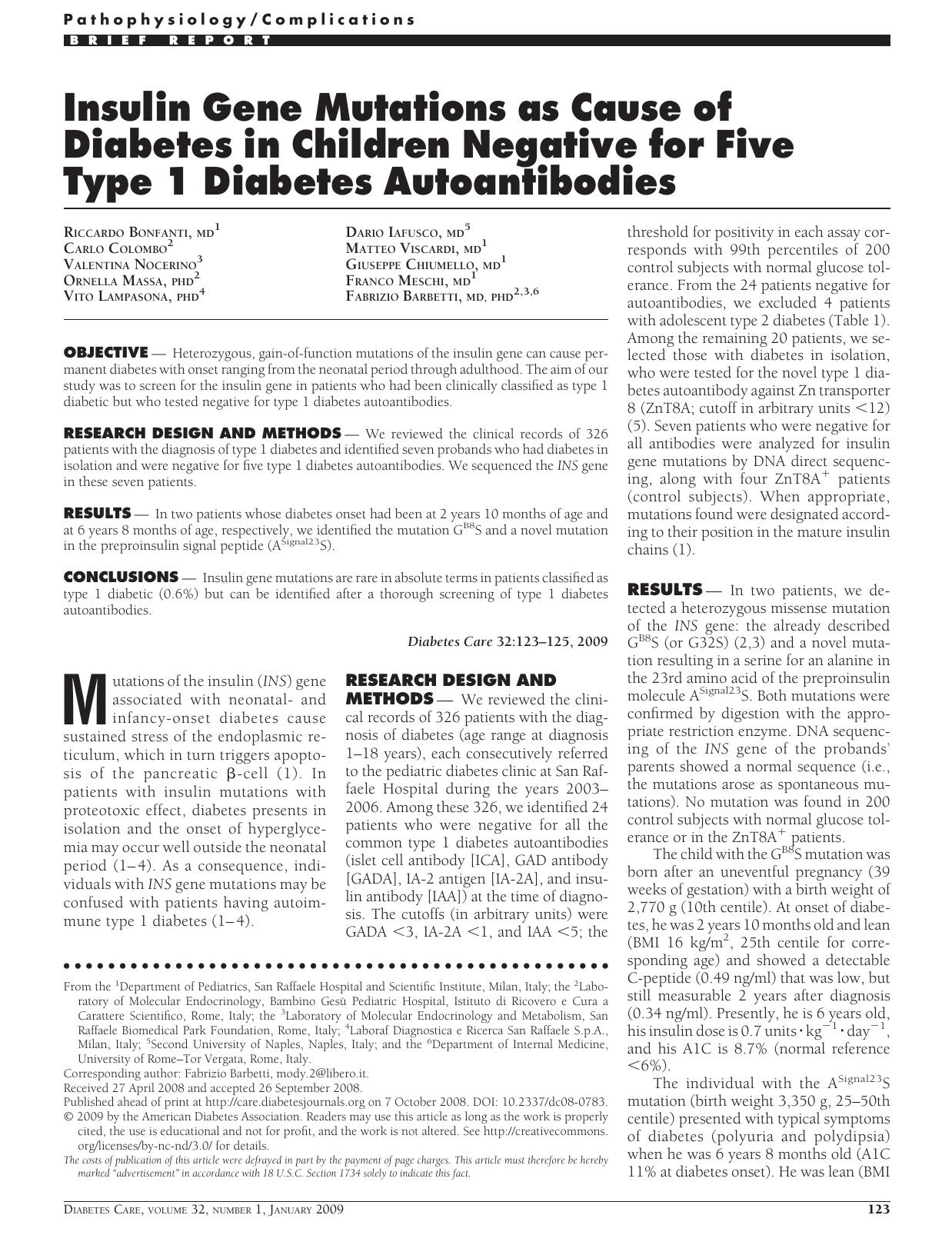 diabetes fabrizio barbetti