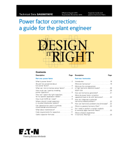 Power Factor. Correction. A guide for the plant engineer