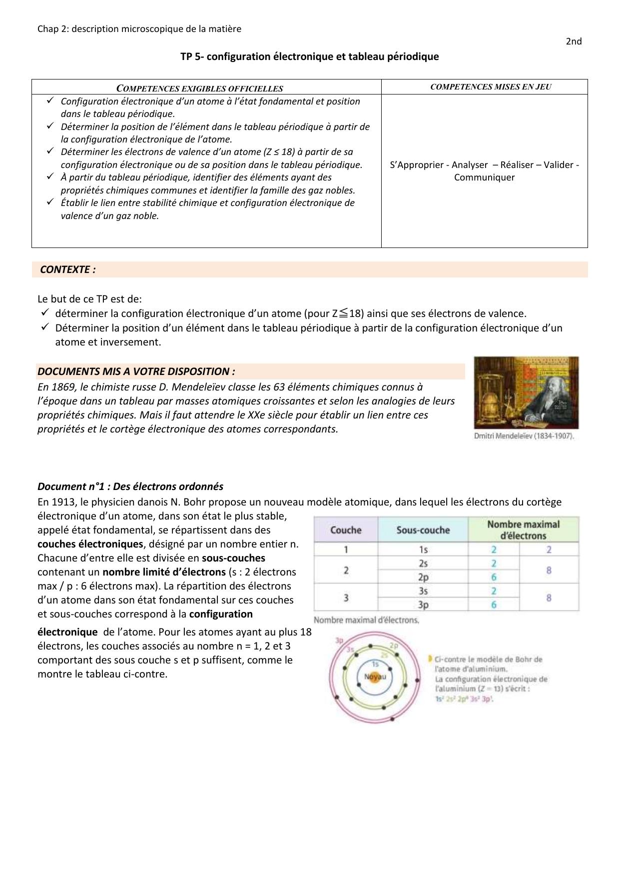 Tp 5 Configuration Electronique Et Tableau Periodique