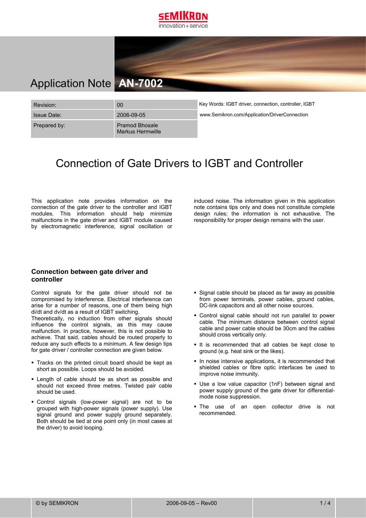 SEMIKRON Application-Note Connection of Gate Drivers to IGBT