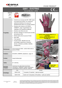 Gants anticoupure tactile - Protection des mains - EVOTRIO